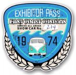 Aged Vintage 1974 Dated Vintage Car Show Exhibitor Pass Design Vinyl Car sticker decal  89x87mm